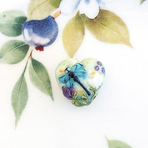 Dragonfly Lampwork Heart Bead - Specialty Beads