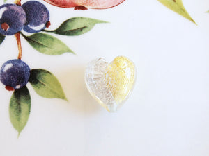 Silver and Gold Italian Heart Bead, Crystal, 21mm - Specialty Beads