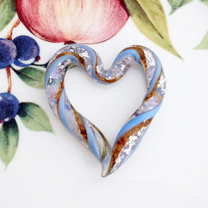 Venetian Ribbon Heart, Golden Blue Sky - Specialty Beads