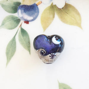 Indigo Night Celestial Handmade Heart Bead