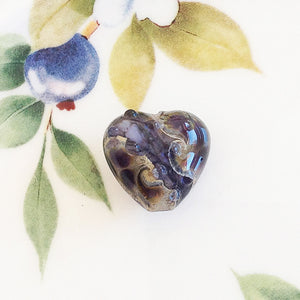 Iris River Heart Lampwork Bead - Specialty Beads