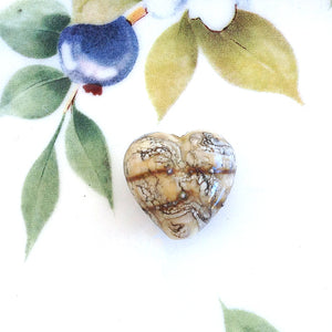 Ivory Jewel Heart Handmade Bead - Specialty Beads