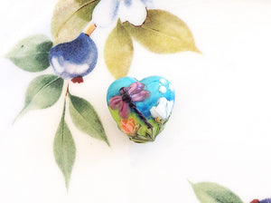 Lavender Dragonfly Handmade Heart Bead - Specialty Beads