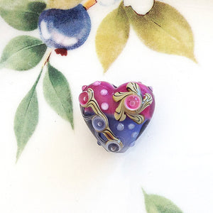 Magenta Purple Lampwork Heart - Specialty Beads