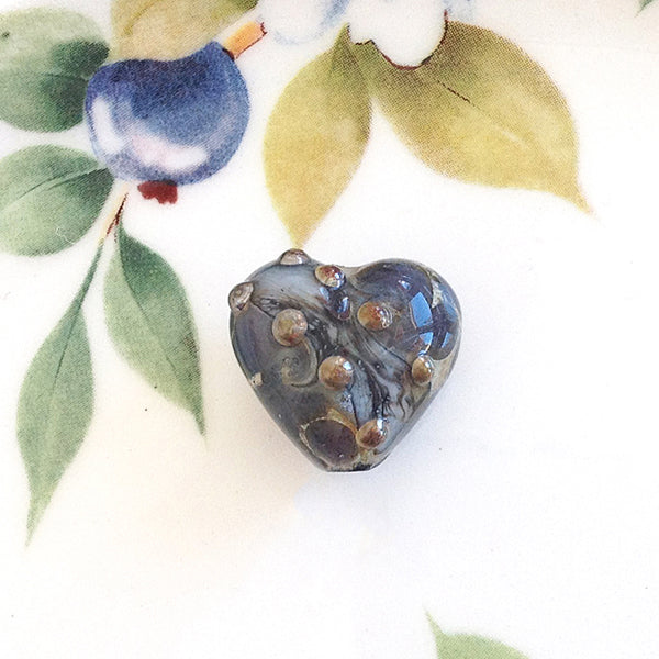 Peaceful River Handmade Heart Bead