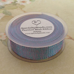Titanium Mesh Ribbon, Light Blue Peacock, 5 Meter Spools - Specialty Beads
