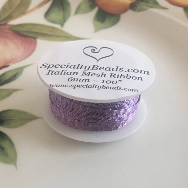 "Italian Mesh Ribbon, Light Purple, 100"" Spool or 5 Yard Spool"