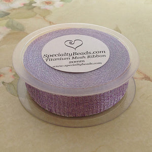 Titanium Mesh Ribbon, Light Purple, 5 Meter Spools