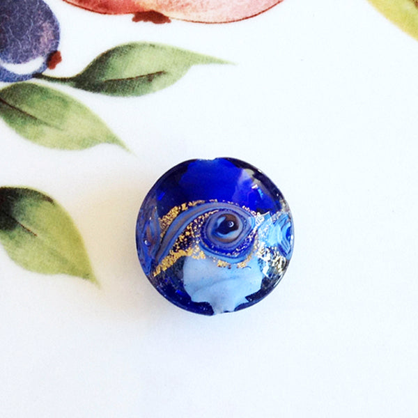 Lovely Swirl Venetian Disc Bead, Blue, 20mm