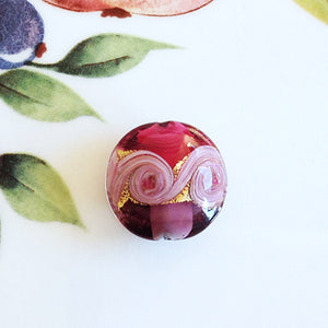 Lovely Swirl Venetian Disc Bead, Pink, 20mm
