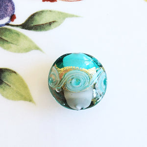 Lovely Swirl Venetian Disc Bead, Sea Green, 20mm