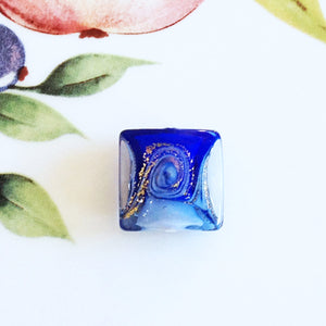 Lovely Swirl Italian Square Bead, Blue, 18mm - Specialty Beads