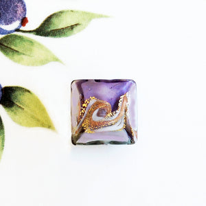 Lovely Swirl Italian Square Bead, Purple, 18mm