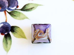 Lovely Swirl Italian Square Bead, Purple, 18mm - Specialty Beads