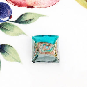 Lovely Swirl Italian Square Bead, Sea Green, 18mm