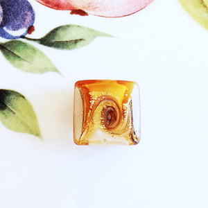 Lovely Swirl Italian Square Bead, Carmel, 18mm - Specialty Beads