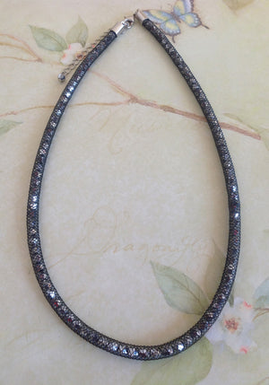 Midnight Silver Crystal Mesh Necklace - Specialty Beads