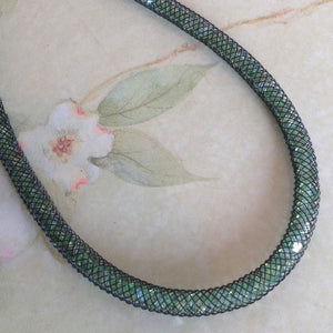 Mint Stardust Crystal Mesh Necklace
