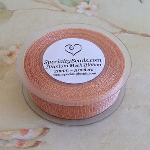 Titanium Mesh Ribbon, Champagne, 1 Meter Length - Specialty Beads