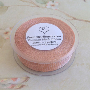 Titanium Mesh Ribbon, Champagne, 5 Meter Spools - Specialty Beads