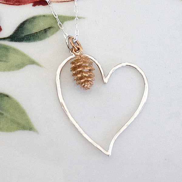 Pine Cone Heart Necklace