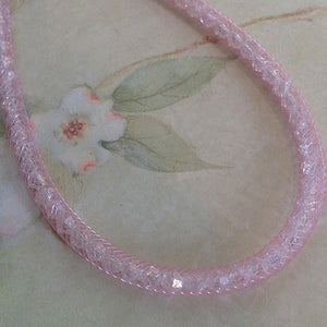 Pink Lace Crystal Mesh Necklace - Specialty Beads