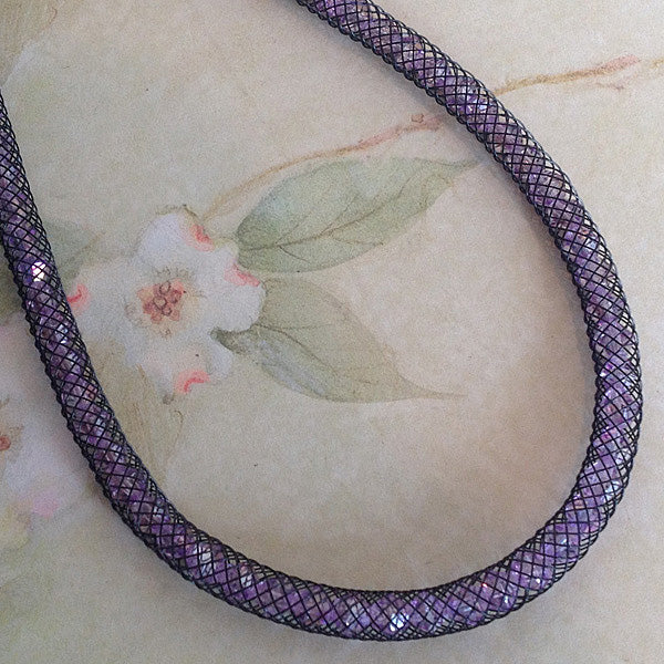 Purple Sparkle Crystal Mesh Necklace