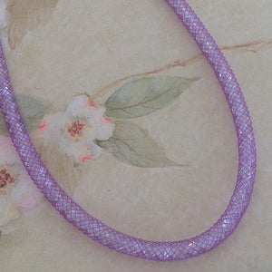 Purple Crystal Mesh Necklace