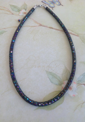 Rainbow Delight Crystal Mesh Necklace