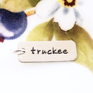 Silver Hand Stamped Truckee Rectangle Charm - Specialty Beads