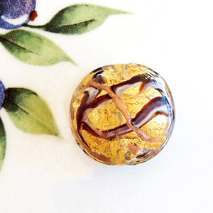 Ribbon Swirl Venetian Disc Bead, Amethyst Chocolate, 26mm