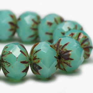 Aquamarine Opal Starburst Czech Beads, 9x6mm - Specialty Beads