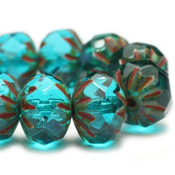 Aquamarine Starburst Czech Beads, 9x6mm