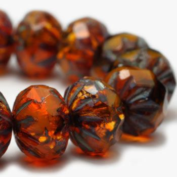 Coppery Glow Starburst Czech Beads, 9x6mm