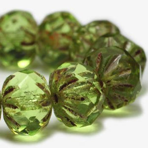 Peridot Starburst Czech Beads, 9x6mm - Specialty Beads