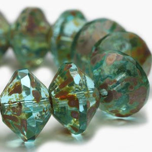 Aqua with Picasso Saturn Czech Beads - Specialty Beads