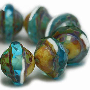Capri Blue Saturn Czech Beads