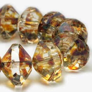 Crystal with Picasso Saturn Czech Beads - Specialty Beads