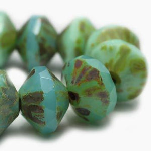 Mixed Turquoise Saturn Czech Beads - Specialty Beads