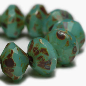Opal Turquoise Saturn Czech Beads - Specialty Beads