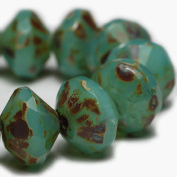 Opal Turquoise Saturn Czech Beads