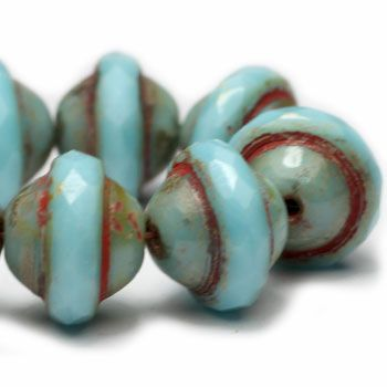 Turquoise Saturn Czech Beads