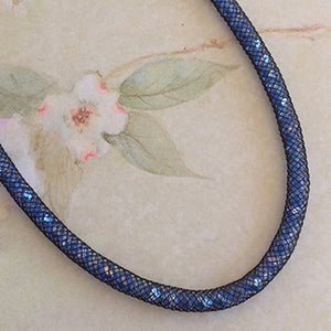 Sapphire Blue Sparkle Crystal Mesh Necklace - Specialty Beads