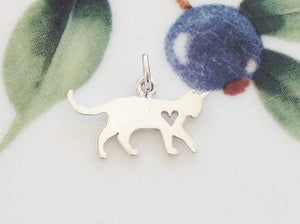Silver Cat Charm - Specialty Beads