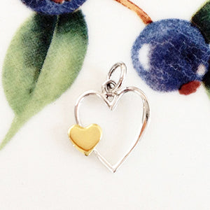 Silver Double Heart Charm - Specialty Beads
