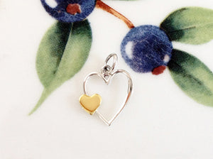Silver Double Heart Charm