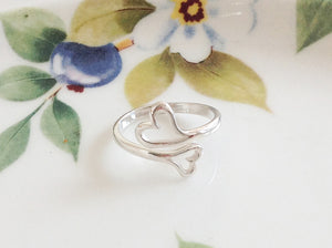 Silver Double Heart Ring - Specialty Beads