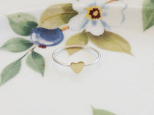 Silver Gold Heart Ring - Specialty Beads