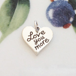 Silver Love You More Heart Charm - Specialty Beads