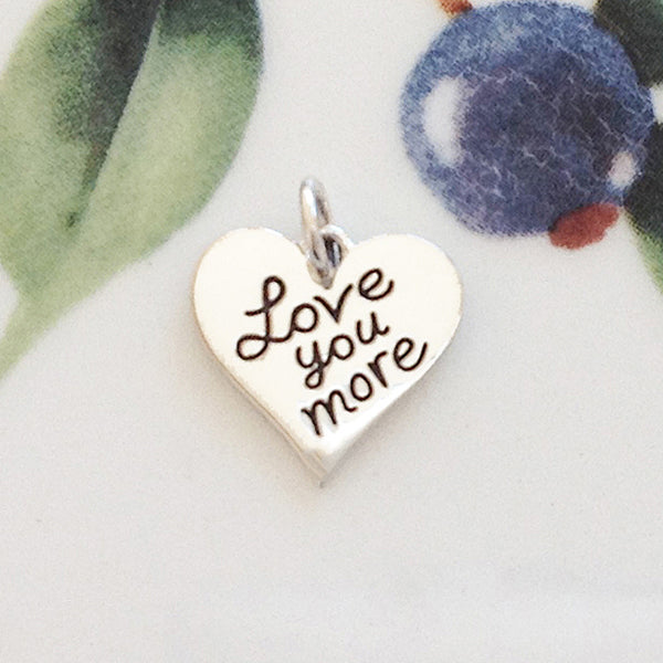 Silver Love You More Heart Charm